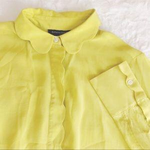 {banana republic} silk chartreuse scallop blouse
